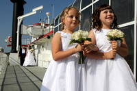 Flower girls lead the wedding procession on the Henrietta